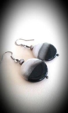 Large earrings, black earrings, black and white glass disc bead earrings by TheLoveOfEarrings on Etsy