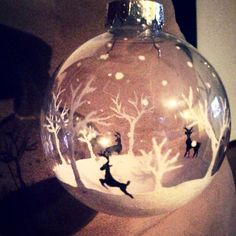 Just finished with a DIY painted ornament! So fun, love the shadow it creates! Literally white and black paint, a small brush and a clear plain bauble ornament!