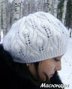 Берет с листочками. Вязание спицами. hat knitting pattern leaves