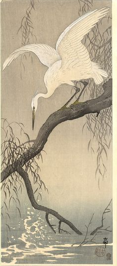 JAPAN PRINT GALLERY: Small White Egret Koson (Naga Oban) ca. 1910