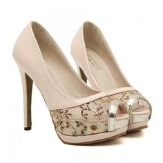 Gorgeous Sequins and Mesh Design Peep Toed Shoes For Women