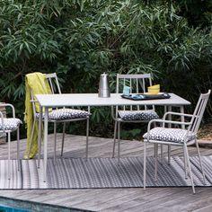 Salon de jardin table et 4 fauteuils en acier taupe Bruge : Decoclico