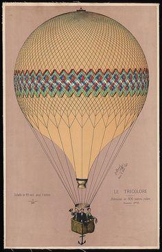 Henri Giffard GRAND BALLOON BEFORE ASCENT 1878 vintage art poster Paris 24X36