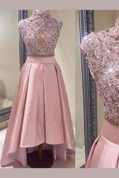 Pink Prom Dresses #PinkPromDresses, Long Prom Dresses #LongPromDresses, Prom Dresses Unique #PromDressesUnique, Prom Dresses 2019 #PromDresses2019, High Neck Prom Dresses #HighNeckPromDresses