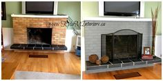 yellow and orange brick fireplace painted gray how to update a fireplace - Kylie M Interiors Painted Brick Fireplaces, Paint Fireplace, Fireplace Update, Brick Fireplace Makeover, Best Paint Colors, Room Paint Colors, 1970s House, Orange Brick, Living Room Update