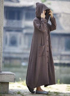 Aliexpress.com : Buy Women Long Sleeve Loose Plus Size Robe Trench Coat 2016 Solid Color Single Breasted Cardigan Vintage Hooded Maxi Trench Coat  from Reliable maxi trench coat suppliers on Pink Linen Store