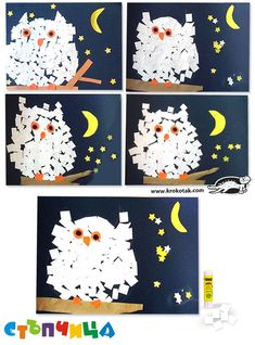Nocturnal Birds Art Project for Kids Christmas Mosaics, Diy Paper Christmas Tree, Fall Art Projects, Arts And Crafts Projects, Owl Crafts, Letter A Crafts, Fun Crafts For Kids, Art For Kids, Kids Art Galleries