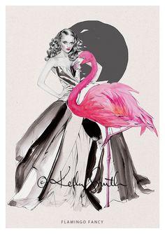 Flamingo Fancy - LIMITED EDITION PRINT by Kelly Smith on birdyandme.bigcartel.com