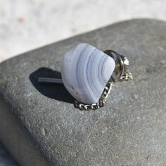 Custom Blue Lace Agate Stone Tie Tack Handmade - Quantity of 1 Blue Lace Agate, Tumbled Stones, Stone Names, Minerals And Gemstones, Rocks And Gems, Agate Stone, Sea Glass Jewelry, Groomsman Gifts, Healing Stones