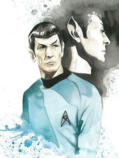 Spock watercolor print.