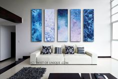 Oversized Minimalist Abstract Painting  / CUSTOM 5 painting set / 75x20 / abstract watercolor painting/ Ocean abstract/  blue, white, purple