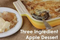 Apple Dump Cake-3 Ingredient Apple Dessert. 2 cans apple filling, 1 yellow cake mix/spice mix & 2 sticks butter. Spread pie filling into 9x13 pan. Pour dry cake/spice mix on top. Drizzle melted butter over mixture. Bake at 350 for 45 mins or until lightly browned.