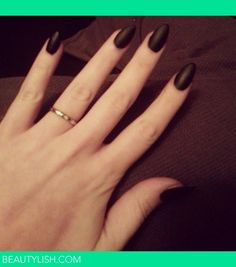 black stiletto nails | Matte Black Stiletto/Almond Nails! DIY
