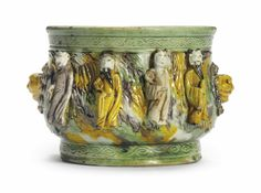 A green, yellow, aubergine and cream-glazed censer, 17th century