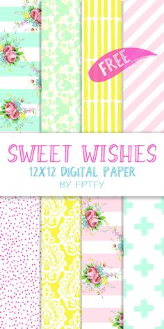 Free Sweet Wishes 12 x 12 Digital Scrapbooking Collection! - Free Pretty Things For You