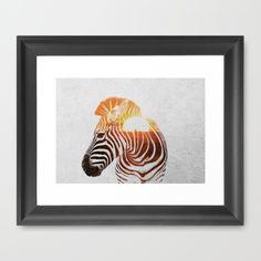 Zebra Framed Art Print by Andreas Lie