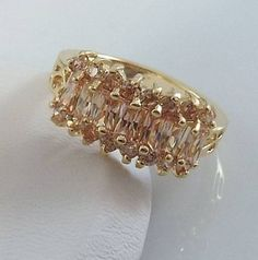 Ladies Champagne CZ Gold Ring~18K Yellow Gold Overlay Size 5 1/2-Free Gift Box