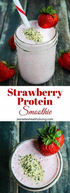 Strawberry Protein Smoothie - this healthy smoothie packs in 27.5 grams of protein with no protein powder   @munchkin #GoGrassFed #NatureNurtureGrassfed #ad