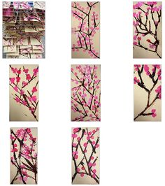 This is a two day project for We first used found objects to stamp our cherry blossom trees. We used cardboard to create straight. Cherry Blossom Art, Blossom Trees, Spring Crafts For Kids, Art For Kids, Collaborative Mural, Kindergarten Art Projects, Classroom Projects, School Projects, School Ideas