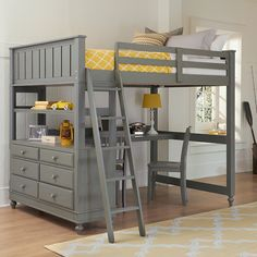 Stone Lake House Lake House Loft Bed - options for different components under the bed + comes in different colors