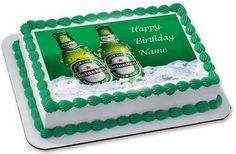 Heineken Beer Edible Cake Topper & Cupcake Toppers – Edible Prints On Cake (EPoC) Edible Cake Toppers, Birthday Cake Toppers, Cupcake Toppers, Happy Birthday Joe, Simple Cake Designs, Edible Printing, Cake Decorating, Luis Gutierrez, Flavio