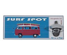 Décapsuleur mural SURF bois et métal, bleu - 32*12