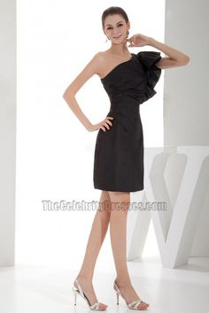 Chic Short Black One Shoulder Party Homecoming Dresses - TheCelebrityDresses