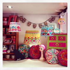 We love re-decorating the shop! These beautiful embroidered lampshades and cushions are available in store now <3