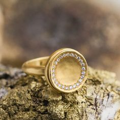 Fine 18K Yellow Gold with Natural Brilliant Diamonds, Fashion Ring, Statement Gold Ring, Diamond Ring, Handmade Jewelry