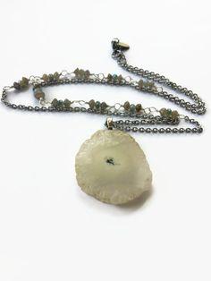 White Solar Quartz Necklace with Labradorite White Stalactite Quartz Layering Necklace Solar Quartz Pendant Necklace Boho Jewelry (N90) by JulemiJewelry on Etsy https://www.etsy.com/listing/277159334/white-solar-quartz-necklace-with
