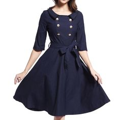 Women Autumn Sweet Dress 2016 Fashion Solid Color Dress Doll Collar A-line One Piece Dress Kawaii Half Sleeve Ball Gown Ladies