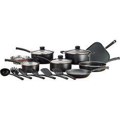 NEW Mainstays Classic Nonstick 18-Piece Pots And Pans Cookware Set Black Ceramic