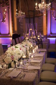 photo: Catherine Hall Studios; Glamorous ballroom wedding centerpiece;