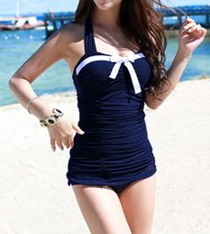 Color Block Halter Neck Bow Tie Embellished Sexy Style Women's One Piece SwimsuitSwimwear | RoseGal.com