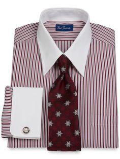 Cotton Alternating Satin Stripe Straight Collar French Cuff Dress Shirt from Paul Fredrick Dress Shirt And Tie, French Cuff Dress Shirts, Suit And Tie, Gents Shirts, Suit Shirts, Tee Shirts, Camisa Polo, Shirt Refashion, Stylish Men
