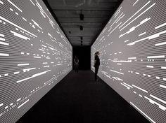 installation by Ryoji Ikeda Installation Interactive, Interactive Walls, Light Installation, Interactive Design, Exhibition Display, Exhibition Space, Digital Wall, Digital Signage, Environmental Graphics