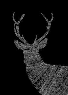 animal silhouette with zentangles...I like the white on black  shine brite zamorano