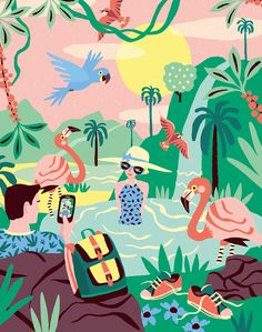 An illustration for an article in Quest Psychology Magazine (NL) about why traveling far increases your social status. Source by graphicfountain illustration Art And Illustration, Illustrations And Posters, Tropical Artwork, Wow Art, Motif Floral, Grafik Design, Bunt, Art Inspo, Illustrators