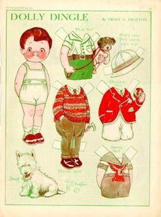 8 Boy & Girl Dolly Dingle Paper Doll Sheets - 1928-1931 (11/16/2010)