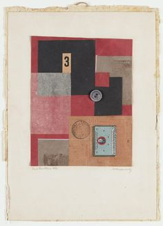 Merz Drawing, 1924. Cut-and-pasted colored and printed papers and button on paper. 33 x 23.8 cm