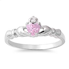 925 Sterling Silver CZ Benediction of the Claddagh Pink Ring 7MM