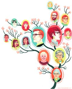 Kali Ciesemier | What to do when you're in your 50's and still feuding with siblings—an illo for AARP magazine! Although this is a family tree for an imaginary magenta-haired family, I did manage to slip in both of my wonderful grandmas (the lovely ladies side by side on the orange & chartreuse ovals, respectively). My cat is also making a star cameo appearance!