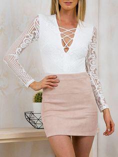 Amazon.com: Choies Women's Deep V-neck Lace Up Long Sleeve Bodycon Jumpsuit Bodysuit: Clothing