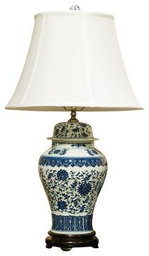 "Blue and White Porcelain Lamp w/ Silk Shade asian-table-lamps - 28"" tall $219 - really like this one."