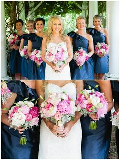Winston Salem Wedding - gorgeous bridesmaids - pink and navy wedding