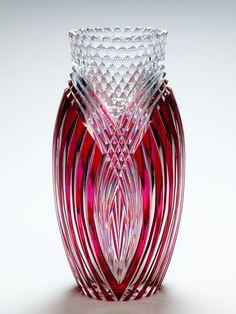 "Art Deco red over clear ""Seurat"" cut glass vase by Val Saint-Lambert, Belgium c. 1930"