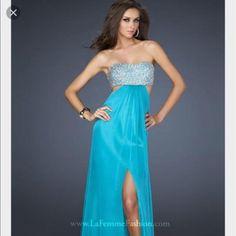 La Femme Light Blue Prom Dress