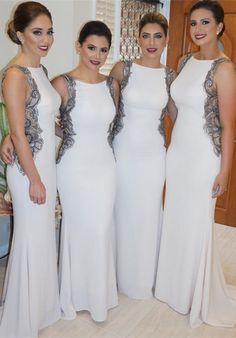 fe40214693309 Dressywe Modern Jewel Appliques Mermaid Bridesmaid Dress 2016 Sweep Train  Dream Dress