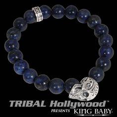 DAY OF THE DEAD SKULL Lapis Bead Bracelet by King Baby