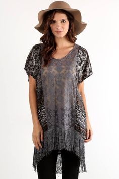Burnout Velvet Fringed Tunic ($68) For all your fierce fashionistas who love boho glamour, this tunic top is for you! Mixed prints, sheer lace, fabulous fringe, and hi-low hemline create a recipe for a decidedly bohemian-chic look. Pair with a neutral tank underneath, statement necklace, and High Waist Suede Leggings.